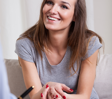 Woman in a Good Mood During Therapy